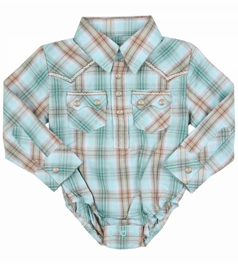 Wrangler Boys Long Sleeve Plaid Western Bodysuit - Green/Brown