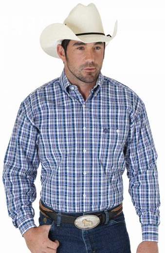 Wrangler Mens George Strait Long Sleeve Poplin Plaid Western Shirt - Navy/Purple/Blue (Closeout)