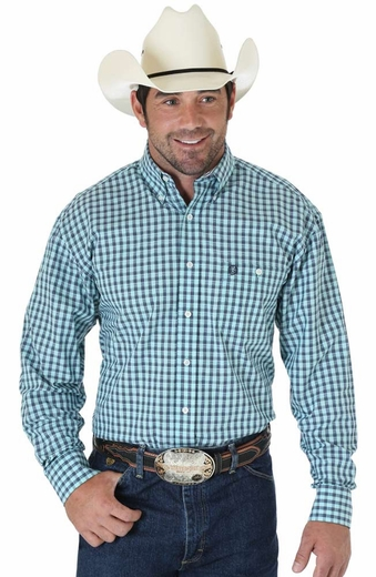Wrangler Mens George Strait Long Sleeve Poplin Plaid Western Shirt - Seafoam/Navy/White (Closeout)