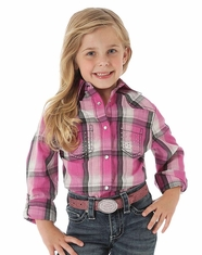 Wrangler Girl's Long Sleeve Plaid Snap Shirt - Pink