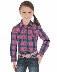Wrangler Girl's Long Sleeve Plaid Snap Shirt - Pink/Navy (Closeout)