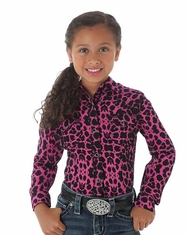 Wrangler Girl's Long Sleeve Print Snap Shirt - Pink/Black