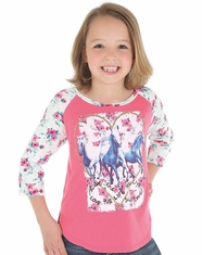 Wrangler Girl's Rock 47 Heart Horse Top - Pink (Closeout)