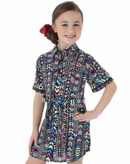 Wrangler Girl's Western Print Dress - Black (Closeout)