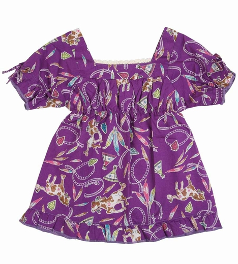 Wrangler Girls Western Print Dress - Purple (Closeout)