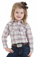 Wrangler Girls Long Sleeve Plaid Snap Western Shirt - Cream Multi (Closeout)