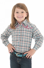 Wrangler Girls Long Sleeve Plaid Snap Western Shirt - Green Multi