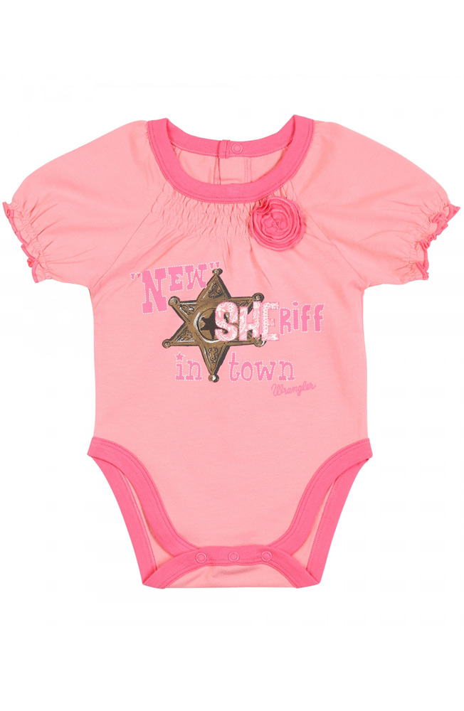 Wrangler Girls Short Sleeve New Sheriff Body Suit - Pink (Closeout)