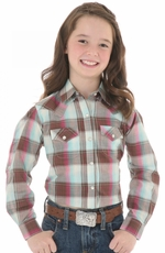 Wrangler Girls Long Sleeve Snap Western Shirt - Brown/Multi