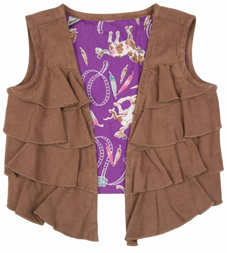 Wrangler Girls Ruffle Vest - Brown