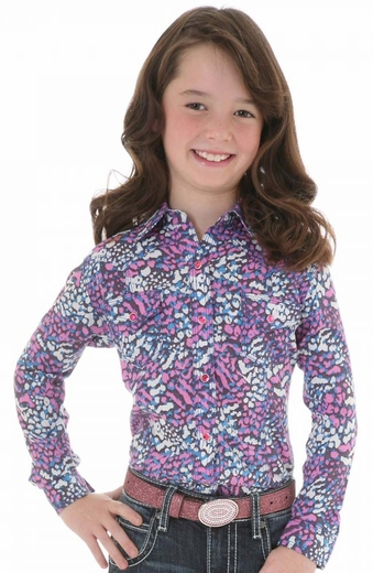 Wrangler Rock 47 Girls Long Sleeve Print Snap Western Shirt - Blue/Pink