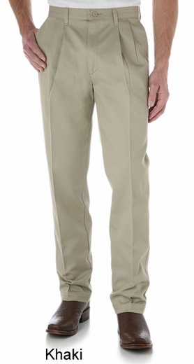 Wrangler Men's 00095 Riata Pleated Front Casual Pants - Khaki, Black or Sable