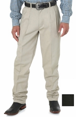Wrangler Men's 00095 Riata Pleated Front Casual Pants - Khaki or Black