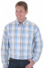 Wrangler Men's 20X Long Sleeve Western Plaid Button Down Shirt - Blue/ White (Closeout)