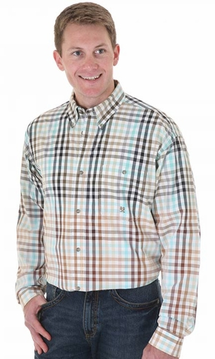 Wrangler Men's 20X Long Sleeve Western Plaid Button Down Shirt - Brown/ Turquoise (Closeout)