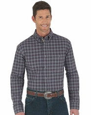 Wrangler Men's Advanced Comfort Plaid Button Down Shirt - Plum
