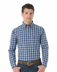 Wrangler Men's Classic Long Sleeve Poplin Check Shirt - Blue/Orange (Closeout)