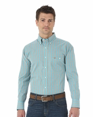 Wrangler Men's Classic Long Sleeve Poplin Check Shirt - Khaki/Blue (Closeout)