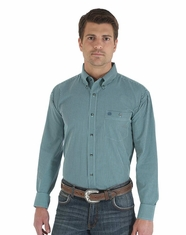 Wrangler Men's Classic Long Sleeve Poplin Check Shirt - Turquoise/Navy (Closeout)