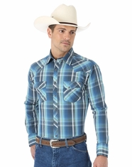 Wrangler Men's Fashion Long Sleeve Plaid Snap Shirt - Blue/White (Closeout)