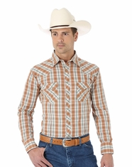 Wrangler Men's Fashion Long Sleeve Plaid Snap Shirt - Rust/Khaki (Closeout)
