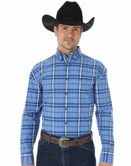 Wrangler Men's George Strait Plaid Button Down Shirt - Navy