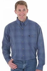 Wrangler Men's George Strait Long Sleeve Button Down Western Shirt - Blue (Closeout)