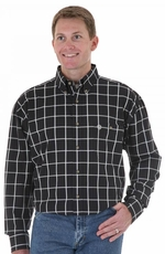 Wrangler Men's George Strait Long Sleeve Plaid Button Down Western Shirt - Black (Closeout)