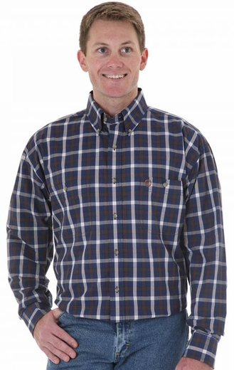 Wrangler Men's George Strait Long Sleeve Plaid Button Down Western Shirt - Blue (Closeout)