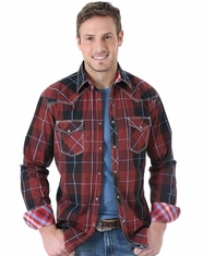 Wrangler Men's Long Sleeve 20X Plaid Snap Shirt - Red