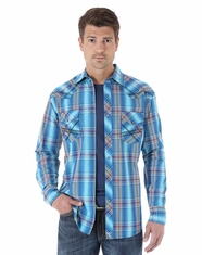 Wrangler Men's Long Sleeve 20X Plaid Snap Shirt - Turquoise/White/Blue