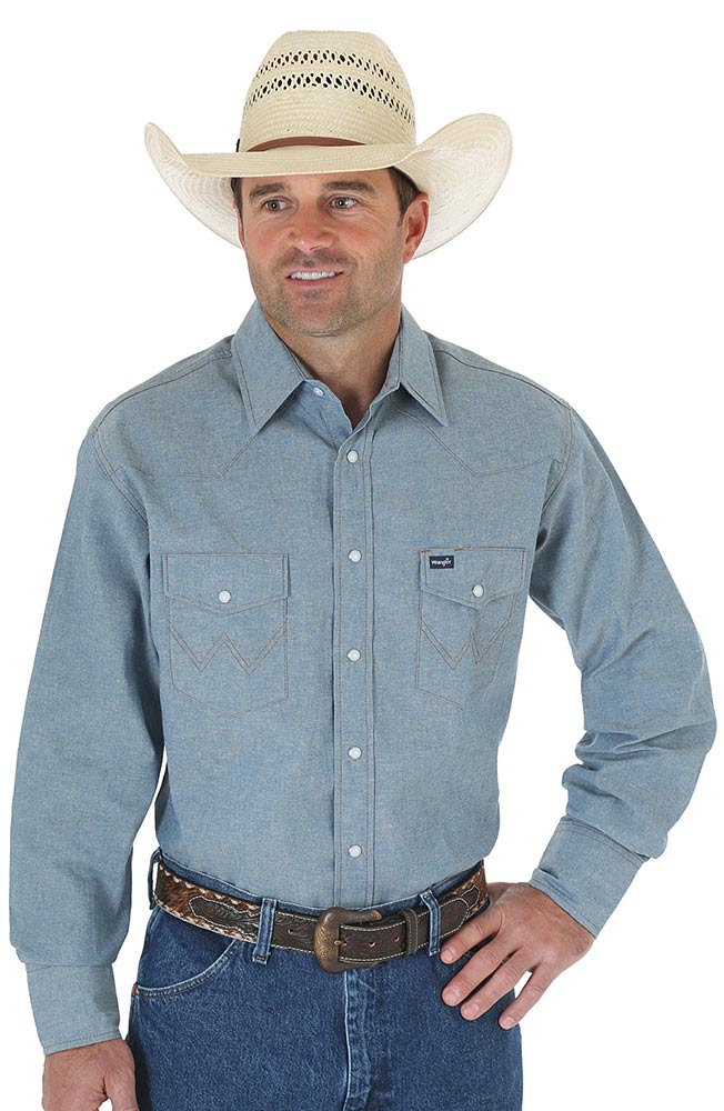 Wrangler Men's Long Sleeve Cowboy Cut Chambray Western Snap Shirt