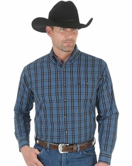 Wrangler Men's Long Sleeve Plaid Button Down Shirt - Black/Blue