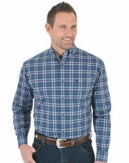 Wrangler Men's Long Sleeve Plaid Button Down Shirt - Navy