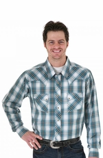Wrangler Men's Long Sleeve Plaid Button Down Western Shirt - Emerald/ Navy (Closeout)