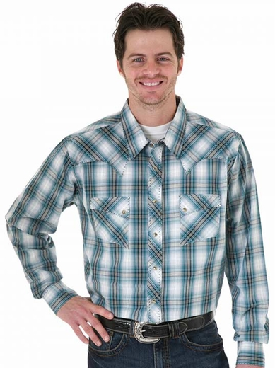 Wrangler Men's Long Sleeve Plaid Button Down Western Shirt - Emerald/ Navy