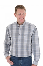 Wrangler Men's Long Sleeve Plaid Button Down Western Shirt - Grey/Black/Blue (Closeout)