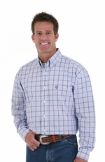 Wrangler Men's Long Sleeve Plaid Button Down Western Shirt - Purple
