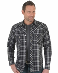 Wrangler Men's Long Sleeve Plaid Snap Shirt - Black