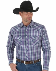 Wrangler Men's Long Sleeve Plaid Snap Shirt - Purple