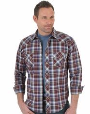 Wrangler Men's Long Sleeve Plaid Snap Shirt - Red