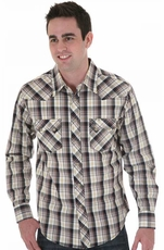 Wrangler Men's Long Sleeve Plaid Western Snap Shirt - Brown/ Black (Closeout)