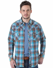 Wrangler Men's Long Sleeve Rock 47 Plaid Snap Shirt - Blue