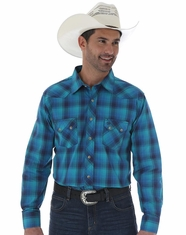 Wrangler Men's Long Sleeve Western Plaid Snap Shirt - Teal/Blue (Closeout)