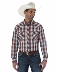 Wrangler Men's Long Sleeve Western Plaid Snap Shirt - White/Orange