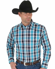 Wrangler Men's Long Sleeve Wrinkle Resist Plaid Snap Shirt - Blue