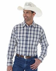 Wrangler Men's Long Sleeve Wrinkle Resist Plaid Snap Shirt - Blue/Khaki