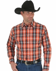 Wrangler Men's Long Sleeve Wrinkle Resist Plaid Snap Shirt - Orange