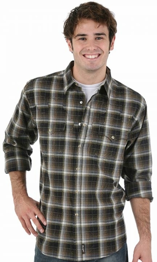 Wrangler Men's Retro Long Sleeve Western Snap Shirt - Black/ Green (Closeout)