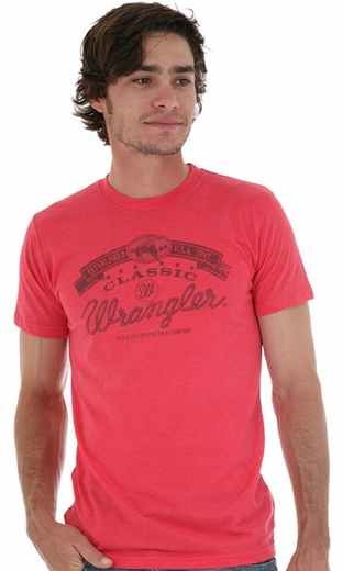 Wrangler Men's Retro Short Sleeve Western Tee Shirt - Red Heather (Closeout)